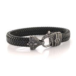 Italgem Vintage Design Detailed Clasp Black Leather Bracelet