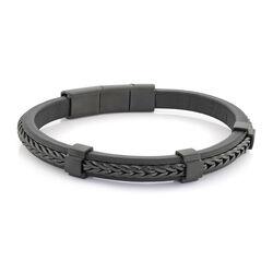 Italgem Black Ip Franco Link-Centre Black Leather Bracelet