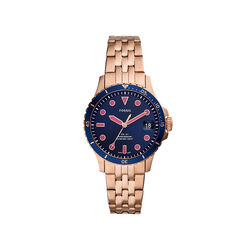 Fossil Three Hand Navy Dial Rose Stainless