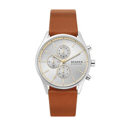 Skagen Silver Dial Brown Leather 42mm