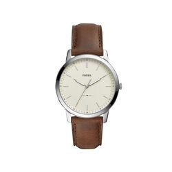 Fossil Minimalist Three-Hand Brown Leather Watch