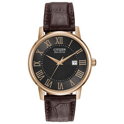 Citizen Eco-Drive Corso Leather Rose Gold-Tone