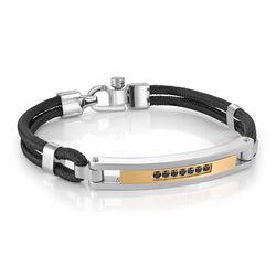 Italgem Gold Ip Black Cz Id Plate Black Cord Bracelet