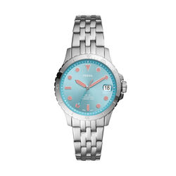 Fossil Three Hand Turq Dial Silver Stainless Steel