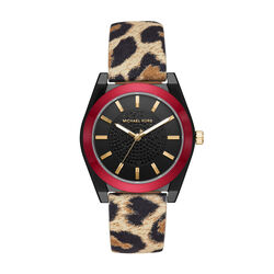 Michael Kors Channing Leopard-Print Leather Watch
