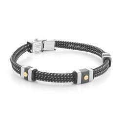 Italgem Gold Screw Mixed Centre Black Leather Bracelet