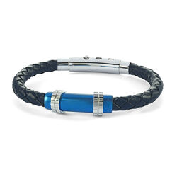 Italgem Blue Ip Stainless Steel Brush Clasp Blue Leather Bracelet