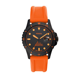 Fossil Three Hand Black IP Orange Silicone
